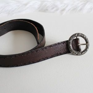 Fossil Brown Leather Floral Tooled Belt